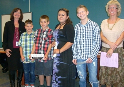Sheldon Schwartz and Brandon Schooley of San Tan Heights Elementary School, Amy Montemurro and Devon Ziman of Mountain Vista Middle School, and Dustin (DJ) Freund and Brianna Rios of San Tan Foothills High